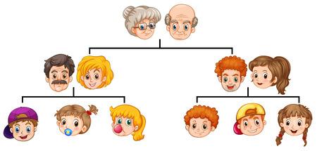 Singolo albero di famiglia con le teste e volti Vettoriali
