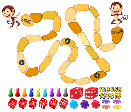 Illustration of a boardgame with monkeys Vector