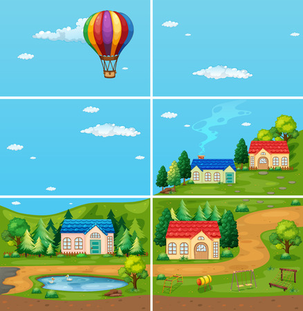 houses in the countryside Vector