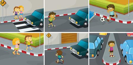 sei scene di fare e non fare sulla strada Vettoriali