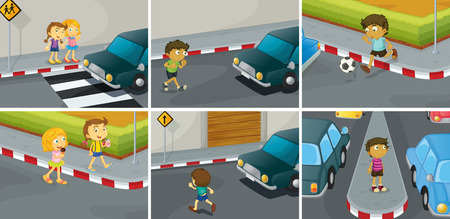 six scenes of do and don't on the road Ilustrace