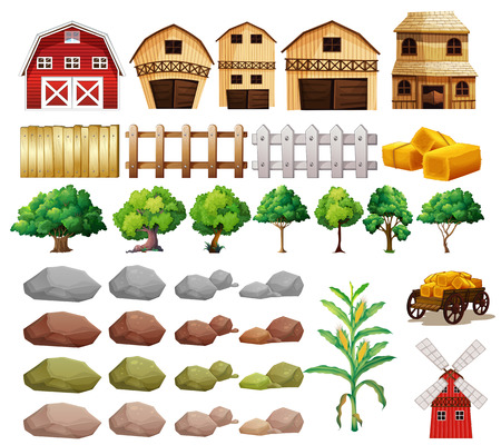 Illustration of a set of farming objects and buildings Vector