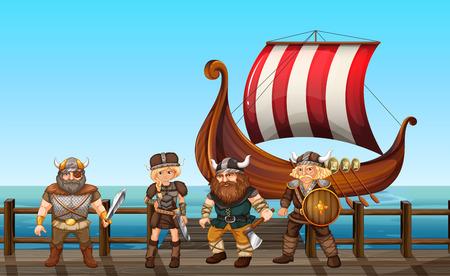 vikingo: vikingos de pie en el muelle Vectores