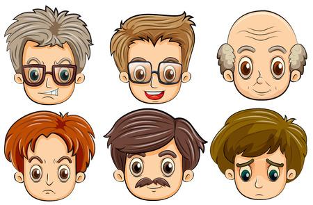 cuerpo hombre: Ilustraci�n de seis caras diferentes Vectores