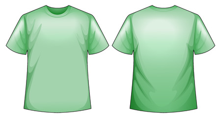 back view: Green t-shirt with front and back view Illustration