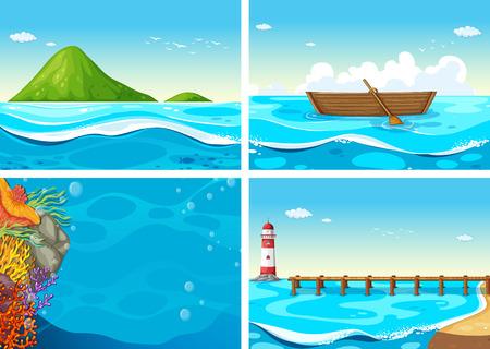 barco caricatura: cuatro escenas del océano