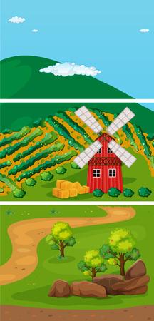 farmland: farmland in the countryside with windmill