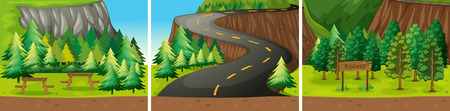 national park: Illustration of scenes from a national park with road