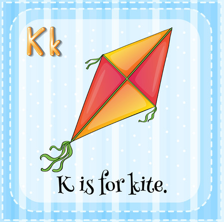 Alphabet K is for kite Illustration