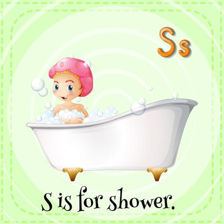 alphabet s: Alfabeto S es para ducha Vectores