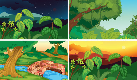 Illustration of four scenes of forests Vector