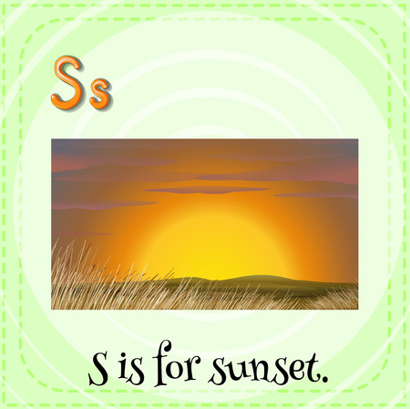 S is for sunset Vector