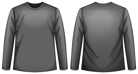 black shirt: Illustration of a front and back view of a black shirt