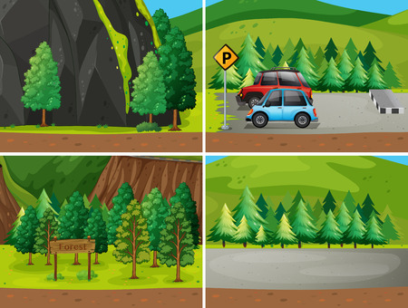 Illustration of four scenes of a park