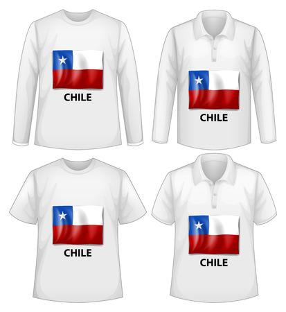 bandera de chile: cuatro dise�os de camisetas con la bandera de Chile