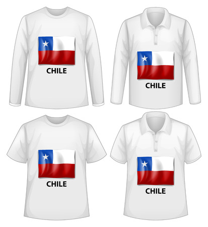 chile flag: four designs of shirts with chile flag Illustration