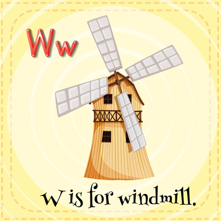 phonetic: Alphabet W is for windmill Illustration