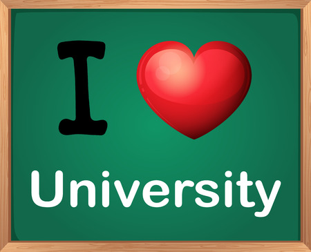 i like my school: Illustration of I love university board
