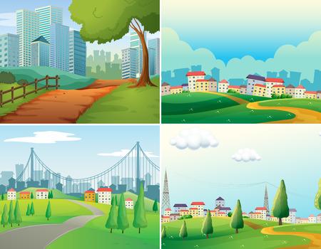Szenen von Städten und Parks Illustration
