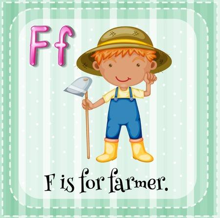 phonetic: Alphabet F is for farmer Illustration
