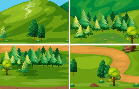 Illustration of different scenes of national park Vector