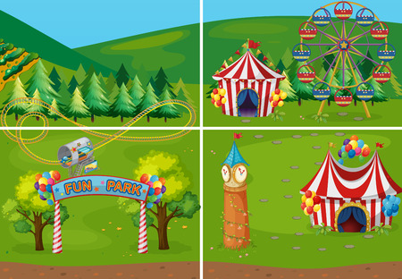 carnival ride: different scenes of carnival Illustration