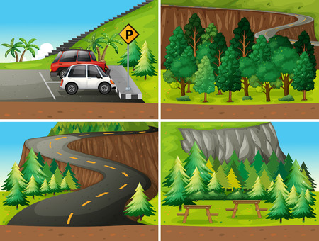car lot: Illustration of four different scenes of parks and road trip
