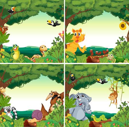 Veel dieren in de bossen Stock Illustratie