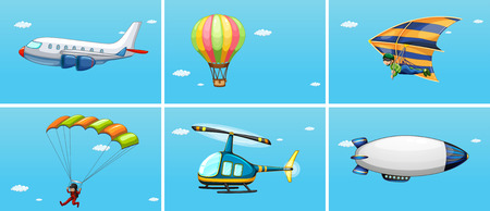 airplane engine: Illustration of different ways of transportations in the sky Illustration