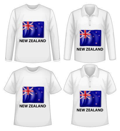 new zealand flag: quattro camicie di design con nuova bandiera zealand