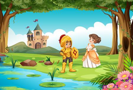 castillos de princesas: Ilustraci�n de un castillo en el estanque Vectores