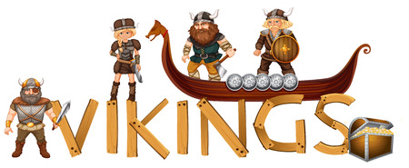 viking: male and female viking sign Illustration