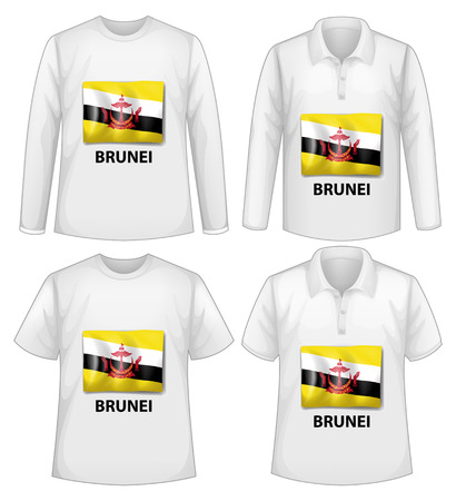 brunei: Four designs of shirts with Brunei flag