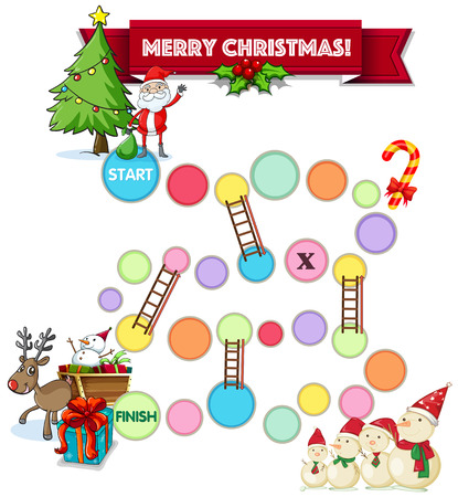 christmas theme: Illustration of a boardgame with christmas theme Illustration