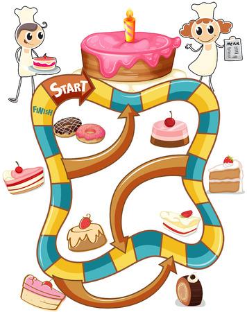 laberinto: plantilla juego de mesa con pasteles
