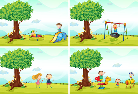 tree toys: four scenes of children in the playground Illustration