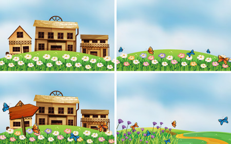 cartoon landscape: Illustration of four scenes of houses and nature