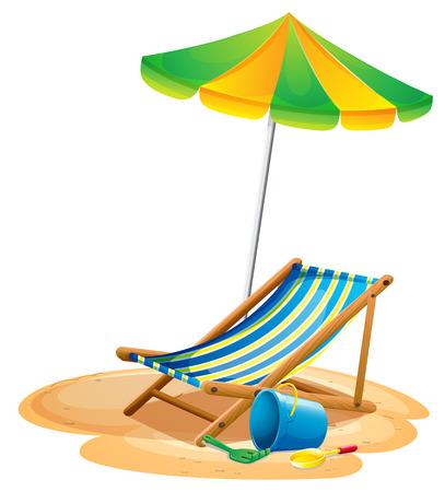 Illustratie van een strand stoel en een paraplu