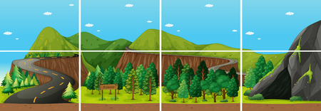 forests and cave Vector