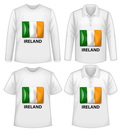 bandera de irlanda: cuatro camisetas con la bandera de irlanda