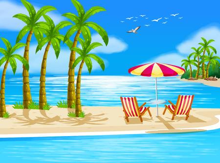 Illustratie van uitzicht op het strand met stoelen en paraplu