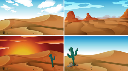 four scenes of deserts Vector