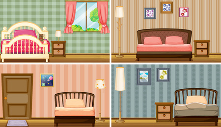 Four different bedrooms