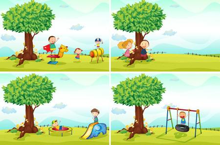 arboles de caricatura: ni�os jugando en el parque Vectores