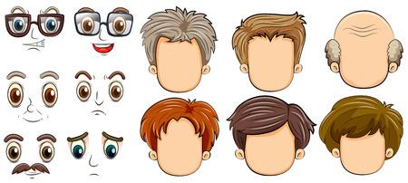 expresiones faciales: muchas caras de los hombres Vectores