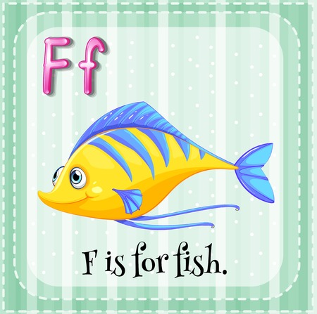 Alphabet F is for fish Vector