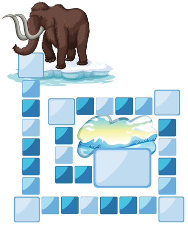 northpole: boardgame with a mammoth and iceberg