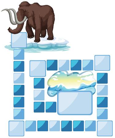 northpole: bordspel met een mammoet en ijsbergsla Stock Illustratie
