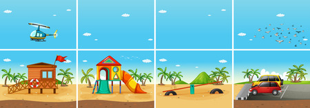 Illustration of a beach scene with playground and carpark Vector