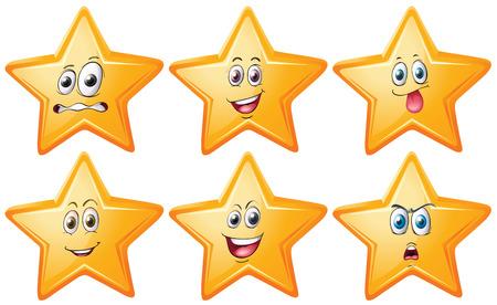 expresiones faciales: estrellas con expresiones faciales Vectores